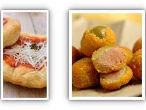 Na zdjęciu zielone Oliwki Ascoli nadziewane mięsem wołowym, smażone na głębokim tłuszczu w towarzystwie montanare (mini pizza z sosem pomidorowym oprózonej parmezanem) typowe włoskie danie już w Krakowie