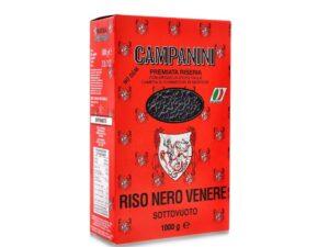 na białym tle opakowanie z Czarnym ryżem RISO NERO VENERE – CAMPANINI 1KG