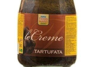 Na białym tle słoik z Kremem z czarnych trufli 580gr Terramaris Te niezwykle rzadkie owoce ziemi