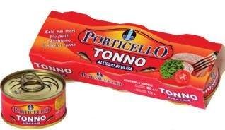 na białym tle w puszce Tunczyk w oliwie z oliwek TONNO IN OLIO D'OLIVA – PORTICELLO 2X160G