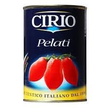 Na białym tle puszka z Pomidorami bez skóry. Pomidory pelati w całości w soku pomidorowym, POMODORI PELATI CIRIO, 400G