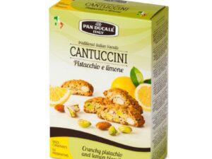 Na białym tle opakowanie z Suchymi ciasteczkami pistacjowymi z cytryną. CANTUCCINI AL PISTACCHIO E LIMONE - PAN DUCALE 180g