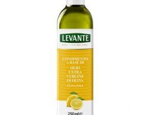 na białym tle w butelce Cytrynowa oliwa z oliwek extra vergin, 250ml
